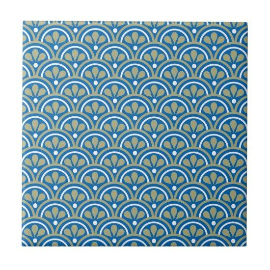Blue And Khaki Floral Art Deco Pattern Ceramic Tile