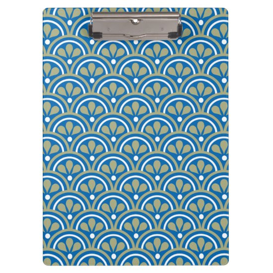 Blue And Khaki Floral Art Deco Pattern Clipboard