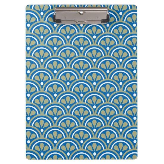 Blue And Khaki Floral Art Deco Pattern Clipboard