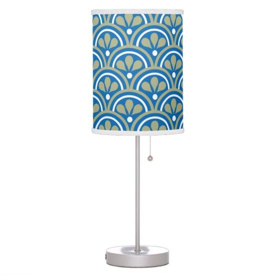 Blue And Khaki Floral Art Deco Pattern Desk Lamp