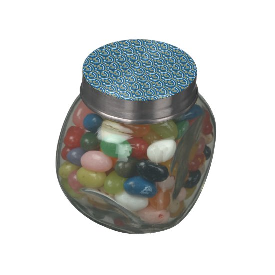 Blue And Khaki Floral Art Deco Pattern Jelly Belly Candy Jar
