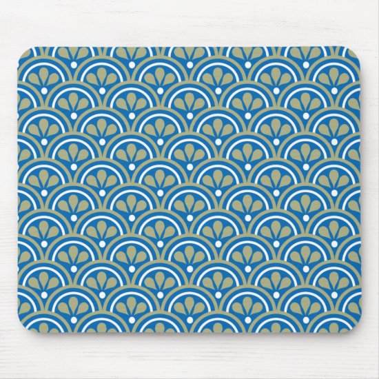 Blue And Khaki Floral Art Deco Pattern Mouse Pad