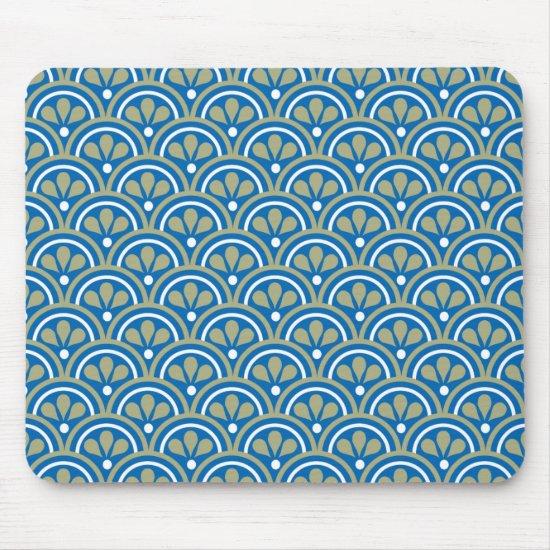 Blue And Khaki Floral Art Deco Pattern Mouse Pad