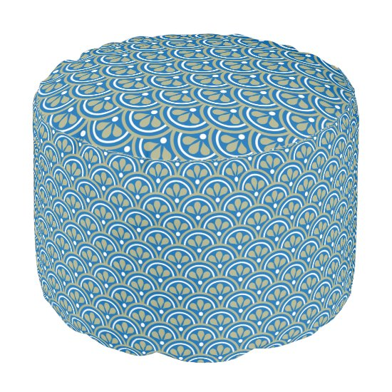 Blue  And Khaki Floral Art Deco Pattern Pouf