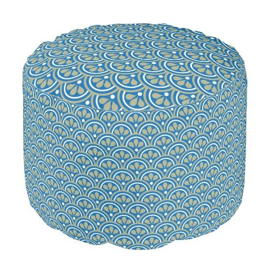 Blue  And Khaki Floral Art Deco Pattern Pouf