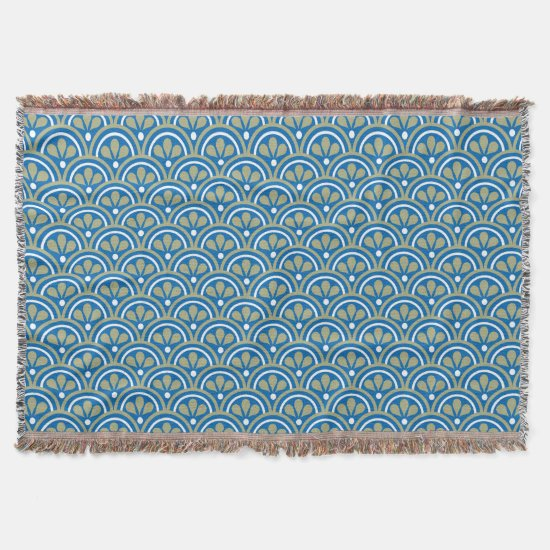 Blue  And Khaki Floral Art Deco Pattern Throw Blanket