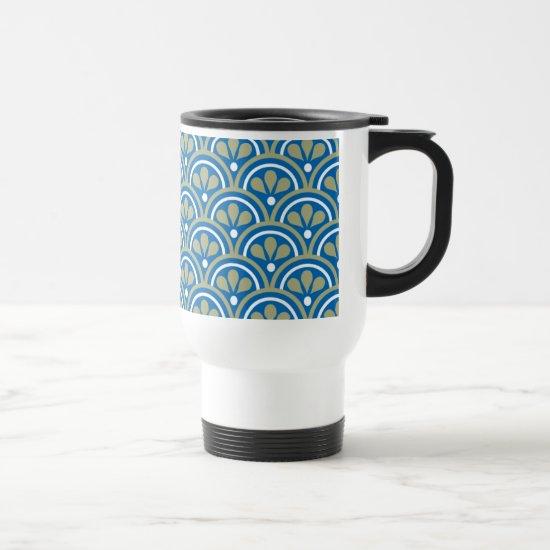 Blue And Khaki Floral Art Deco Pattern Travel Mug
