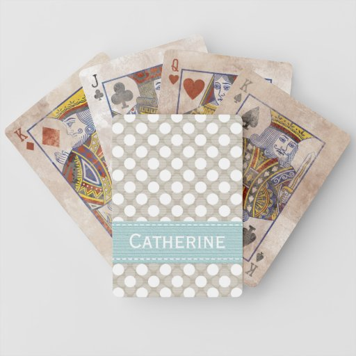 Blue and Khaki Polka Dot Bicycle® Playing Cards
