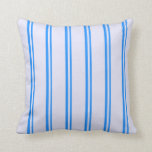 [ Thumbnail: Blue and Lavender Colored Lined/Striped Pattern Throw Pillow ]