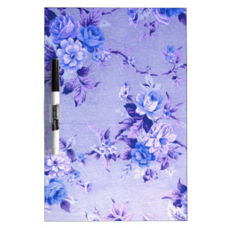 Blue and Lavender Floral Textured Pattern. Dry Erase Board