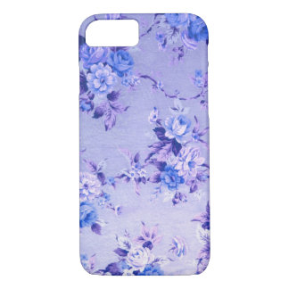 Blue and Lavender Floral Textured Pattern. iPhone 7 Case