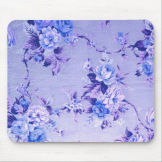 Blue and Lavender Floral Textured Pattern. Mouse Pad