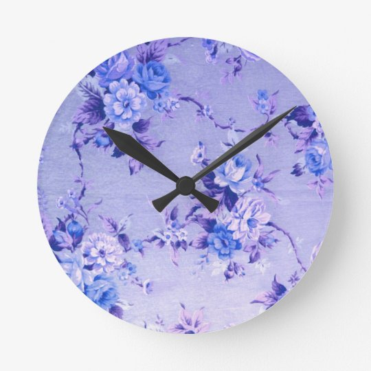 Blue and Lavender Floral Textured Pattern. Round Clock
