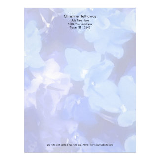 Blue and lavender flowers letterhead