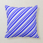 [ Thumbnail: Blue and Lavender Lined Pattern Throw Pillow ]