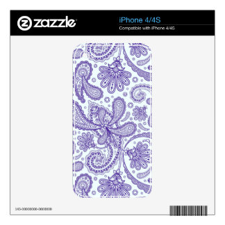Blue And Lavender Orante Paisley Ham Pattern iPhone 4S Decals