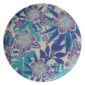 Blue and Lavender Tropical Flowers Plate