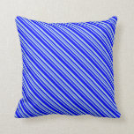 [ Thumbnail: Blue and Light Blue Lined/Striped Pattern Pillow ]