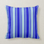 [ Thumbnail: Blue and Light Blue Lines/Stripes Pattern Pillow ]