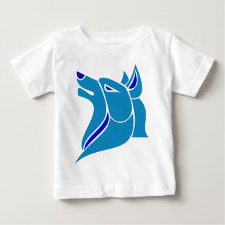 Blue and Light Blue Solid Wolf Head Baby T-Shirt