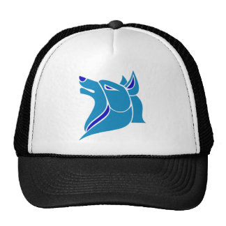 Blue and Light Blue Solid Wolf Head Hats
