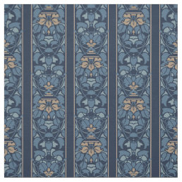 Blue and light brown art nouveau stripe fabric