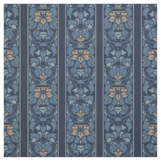 Blue and light brown art nouveau stripe fabric