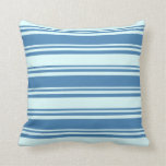 [ Thumbnail: Blue and Light Cyan Colored Lined/Striped Pattern Throw Pillow ]