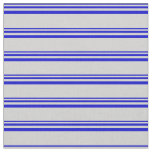 [ Thumbnail: Blue and Light Gray Colored Lines/Stripes Pattern Fabric ]