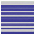 [ Thumbnail: Blue and Light Gray Colored Striped/Lined Pattern Fabric ]