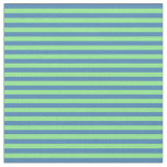 [ Thumbnail: Blue and Light Green Colored Pattern of Stripes Fabric ]