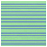 [ Thumbnail: Blue and Light Green Lines Pattern Fabric ]