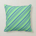 [ Thumbnail: Blue and Light Green Lines Pattern Throw Pillow ]