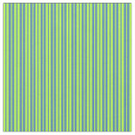 [ Thumbnail: Blue and Light Green Pattern of Stripes Fabric ]
