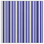 [ Thumbnail: Blue and Light Grey Stripes Pattern Fabric ]