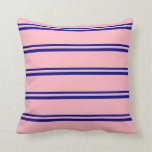 [ Thumbnail: Blue and Light Pink Colored Pattern Throw Pillow ]