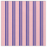 [ Thumbnail: Blue and Light Pink Lines Pattern Fabric ]