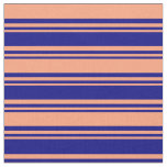 [ Thumbnail: Blue and Light Salmon Stripes Fabric ]