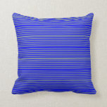 [ Thumbnail: Blue and Light Slate Gray Pattern Throw Pillow ]