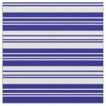[ Thumbnail: Blue and Light Yellow Colored Lined Pattern Fabric ]