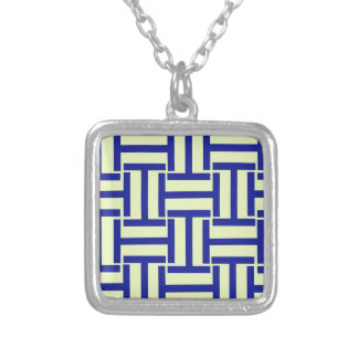 Blue and Light Yellow T Weave Square Pendant Necklace