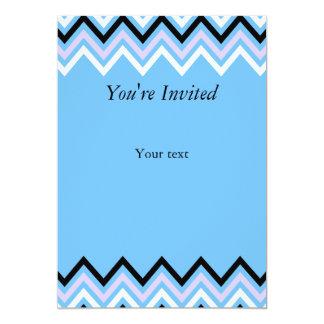 Blue and Lilac Chevron Pattern 5x7 Paper Invitation Card