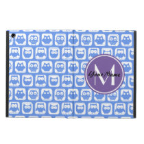 Blue and Lilac Owl Custom Monogram Personalized Cover For iPad Air