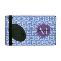 Blue and Lilac Owl Custom Monogram Personalized iPad Case
