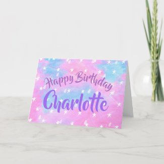 Blue and lilac star pattern greetings card
