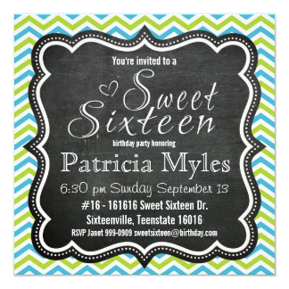 Blue and Lime Chevron Chalkboard Sweet 16 Party Card