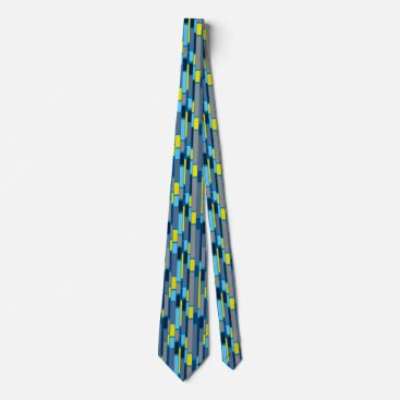 Aztec Themed Blue and Lime green 1960s retro style tie