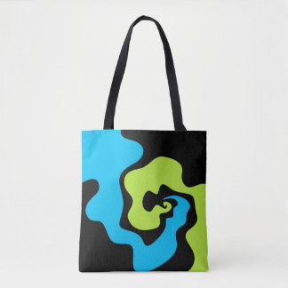 Blue and lime green abstract design tote bag