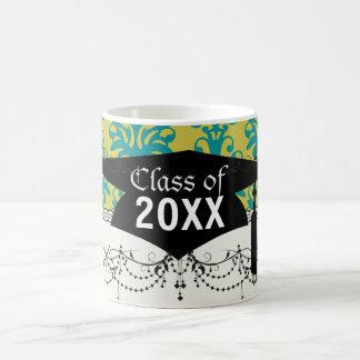 blue and lime green elegant damask graduation coffee mug