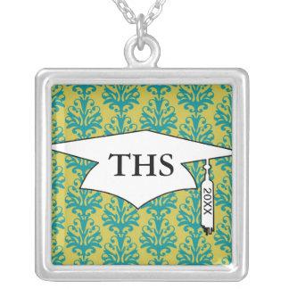 blue and lime green elegant damask graduation square pendant necklace